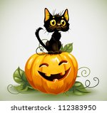 Stock vector a cute black cat on a halloween pumpkin 112383950