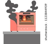 oven in which the thing inside... | Shutterstock .eps vector #1123844939