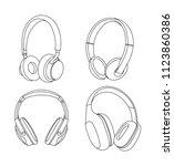 headphones vector illustration  ...   Shutterstock .eps vector #1123860386