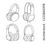headphones vector illustration  ... | Shutterstock .eps vector #1123860398