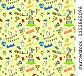 seamless sports patterns with...   Shutterstock .eps vector #1123862096