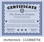 blue certificate of achievement.... | Shutterstock .eps vector #1123868756