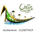 illustration of snakeboat race... | Shutterstock .eps vector #1123875419
