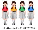 an indian school girl in school ... | Shutterstock .eps vector #1123895906