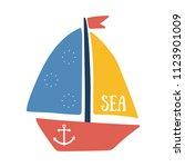 vector illustration of boat... | Shutterstock .eps vector #1123901009
