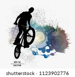 young male bicycle jumper.... | Shutterstock .eps vector #1123902776