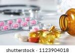 stethoscope  pills  in medical... | Shutterstock . vector #1123904018