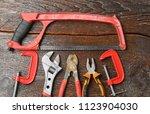 workshop bench. variety of hand ... | Shutterstock . vector #1123904030