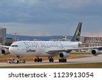Small photo of FRANKFURT,GERMANY-APRIL 07,2016:Lufthansa Airbus A340-300.