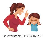 mom scolds daughter. mother... | Shutterstock .eps vector #1123916756