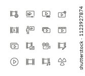cinema icons. set of line icons.... | Shutterstock .eps vector #1123927874