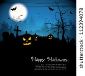 halloween night with pumpkins   ... | Shutterstock .eps vector #112394078