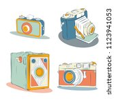 old photographic machines.... | Shutterstock .eps vector #1123941053