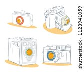old photographic machines....   Shutterstock .eps vector #1123941059