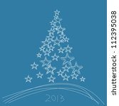 christmas tree 2013 with stars... | Shutterstock .eps vector #112395038