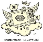 cool grunge design with tv on... | Shutterstock . vector #112395083