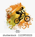 young male bicycle jumper.... | Shutterstock .eps vector #1123953323