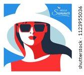 hello summer. female close up... | Shutterstock .eps vector #1123955036