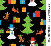christmas background with funny ... | Shutterstock .eps vector #1123955213
