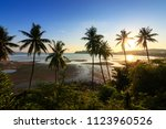 sunset over the tropical beach... | Shutterstock . vector #1123960526