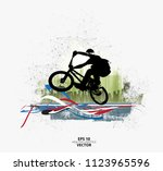 young male bicycle jumper.... | Shutterstock .eps vector #1123965596