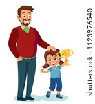 child won the competition and... | Shutterstock .eps vector #1123976540