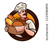 bakery  bakehouse logo or label.... | Shutterstock .eps vector #1123980890