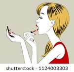 blonde girl half face rouge... | Shutterstock .eps vector #1124003303