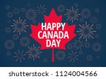 happy canada day vector blue... | Shutterstock .eps vector #1124004566