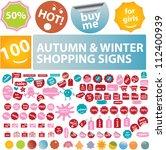 autumn   winter sales tags ...   Shutterstock .eps vector #112400939