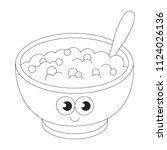 breakfast porridge cartoon.... | Shutterstock .eps vector #1124026136