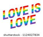 pride love is love rainbow text ... | Shutterstock .eps vector #1124027834