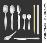 set of realistic forks  knife   ... | Shutterstock .eps vector #1124036696