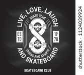 skateboard club sign on the... | Shutterstock .eps vector #1124039924