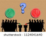 voters crowd silhouette with... | Shutterstock .eps vector #1124041640