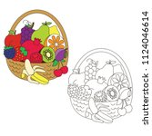 fruit basket elements set ... | Shutterstock .eps vector #1124046614