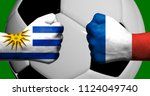 flags of uruguay and france...   Shutterstock . vector #1124049740