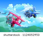 aircrafts in the sky. screw... | Shutterstock .eps vector #1124052953