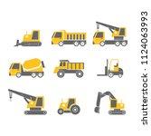 construction vehicles flat... | Shutterstock .eps vector #1124063993