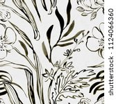 seamless black ink floral...   Shutterstock . vector #1124066360