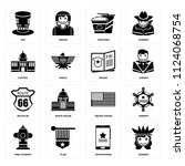 set of 16 icons such as cowboy  ...