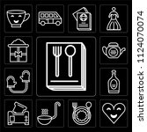 set of 13 simple editable icons ... | Shutterstock .eps vector #1124070074