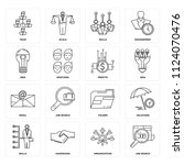 set of 16 icons such as job... | Shutterstock .eps vector #1124070476
