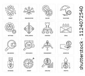 set of 16 icons such as profits ...