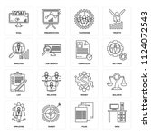 set of 16 icons such as desk ... | Shutterstock .eps vector #1124072543