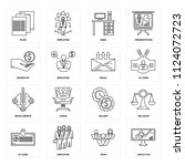 set of 16 icons such as... | Shutterstock .eps vector #1124072723