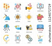 set of 16 icons such as mining  ... | Shutterstock .eps vector #1124072729