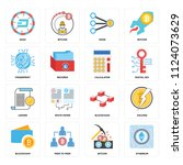 set of 16 icons such as... | Shutterstock .eps vector #1124073629