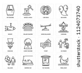 set of 16 icons such as pedal...
