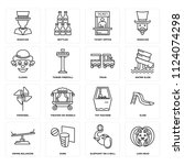 set of 16 icons such as lion...